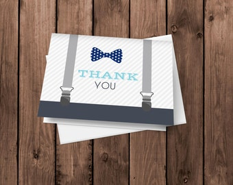 Little Man Thank You Cards | Bow Tie and Suspenders Notecards | Bow Tie Stationery | Folded Card | Blank Thank You Card