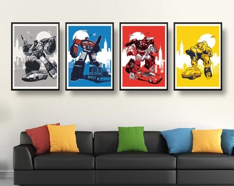 Retro Transformers Characters poster set - 4 Posters included - Different sizes - Optimus Prime Jazz Bumblebee Sideswipe