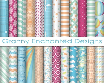 Bright Day: 24 Digital Papers– in Bright Summer and Spring Colored Scrapbook Prints (013p1)