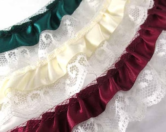 Double Layer Ruffled 1.25 inch Satin and Polyester Ivory Lace Trim in Burgundy, Hunter Green, and  Ivory by the yard
