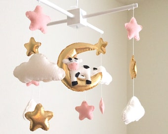 Cow, moon and stars baby mobile, baby mobile, blush baby mobile, star mobile, gold baby mobile, cow mobile, pink mobile, cloud nursery decor