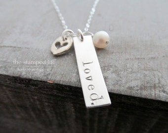 Bar Charm Name Necklace With Pearl and Heart Charm, Valentines Day Gift