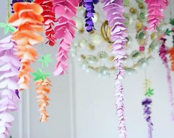 Wisteria Paper Flowers, Hanging Wedding Flowers, SVG Paper Flower Cut Files, Flower Templates and Tutorial, Wedding Paper Flowers
