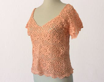 Coral crochet top, exclusive summer top,crochet blouse, boho crochet top, sexy top, floral top, lace top, short sleeve blouse,