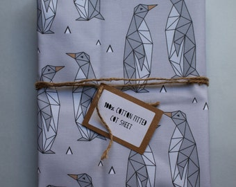 Fitted Cot Sheet / Fitted Crib Sheet - 100% Cotton in Grey Geo Penguin print - READY TO SHIP by Little Dreamer