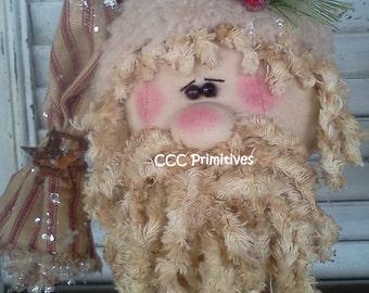 Primitive Santa Nodder - Santa Nodder - Santa on Rusty Spring - Handmade Santa - Primitive Santa