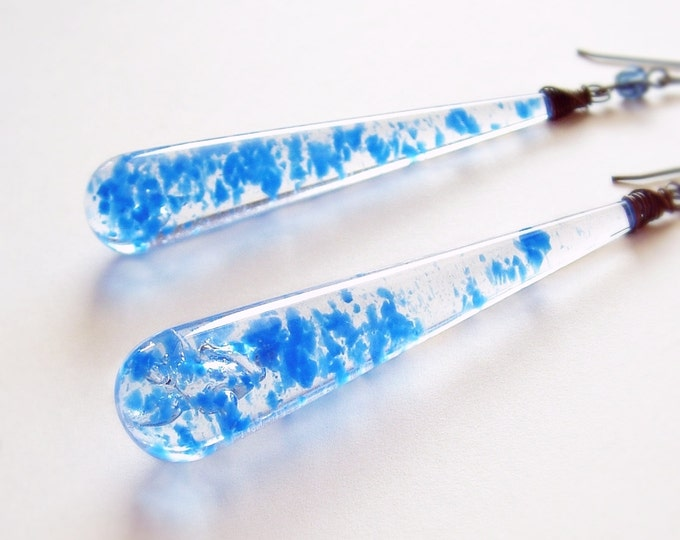 Long Blue Earrings Extra Long Dangles Vintage Confetti Lucite Wire Wrapped Briolettes Fun Retro Funky Jewelry