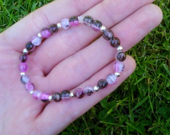 Pink/brown beaded bracelet