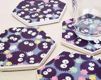 Gray Soot Sprite Hexagon Coaster | One Coaster | Totoro Ceramic Coaster | Studio Ghibli Spirited Away |  | Kawaii Anime Gift | Home Decor