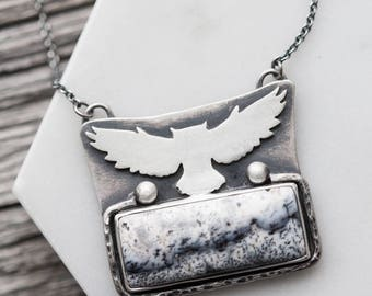dendritic agate necklace. adjustable chain. flying owl silhouette. natural winter gemstone. antique sterling silver pendant. artisan jewelry