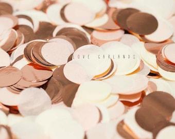 Ivory Rose Gold Round Confetti, Ivory Rose Gold Circle Confetti, Wedding Confetti, Bridal Shower, Rose Gold Confetti, Balloon Confetti