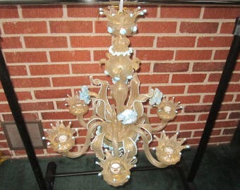 Vintage Gorgeous Italian Venetian Murano Gold Inclusions and Blue Blown Glass 6 Light Chandelier