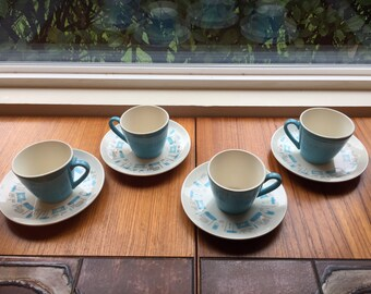 Vintage Blue Heaven Atomic Tea Cups and Saucers