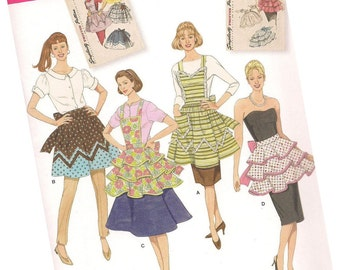 SIMPLICITY 2592 vintage style ladies aprons, four styles from simplicity archives, one size fits most, new and uncut