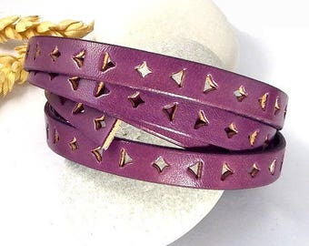 cord flat leather 10mm perforated triangle and square plum by 20cm