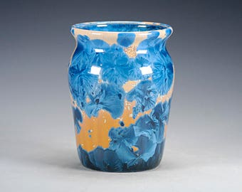 Porcelain Vase - Blue, Gold - Crystalline Glaze on High-Fired Porcelain - Hand Made Pottery - FREE SHIPPING - #H-638