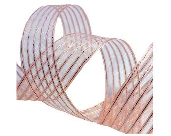 """1"""" Vintage 1940's Pink Silver Ribbon Trim"""