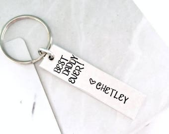 BEST DAD EVER Keychain | Custom Christmas Gift for Daddy from the Kiddos - Bonus Dad Keys - Family Secret Santa - Father's Day 2018 Keychain