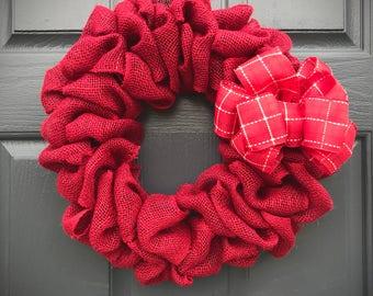 Red Burlap Wreath, Holiday Burlap Decor, Christmas Burlap, Christmas Red Wreath, Red Door Wreaths, Light Wreath, Red Door Wreaths, Gift Idea