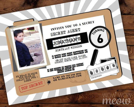 Secret agent party invitations spy birthday invites instant filmwisefo