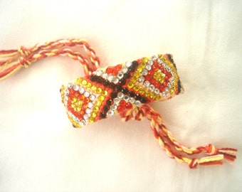 Boho Bracelet, Rhinestone Friendship Bracelet, Sun in the Desert, Orange, Yellow, Crystal, Smoked Topaz