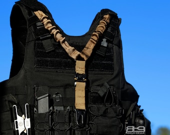 COBRA Buckle Quick-Release Vest Integrated Single-Point Bungee Rifle Sling - Perfect for MOLLE vests! Handmade by Rogue K9 LLC