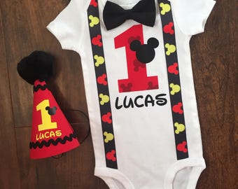 Mickey Mouse 1st Birthday Onesie with Bow Tie, Micket Mouse Birthday Outfit, First Birthday Onesie, Mickey Mouse Birthday