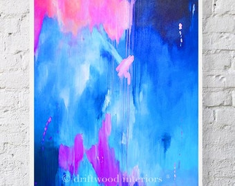 Blue Pink Abstract Watercolor Print - Abstract Art - Modern Abstract Wall Art - 'Alchemy' 11x14