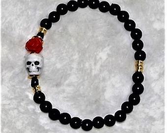 Skull n Rose Beaded Bracelet