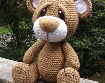 Little Brown Teddy Bear Amigurumi Crochet Pattern PDF. PDF file only.