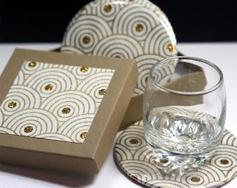 White Fusion Round Drink Coasters - Set of 4