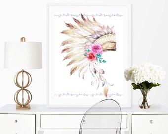 headdress print, aztec art, aztec print, boho decor, tribal decor, tribal print, 8x10 print, boho print, headdress art, boho wall art, 8x10