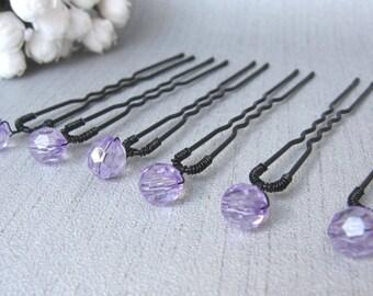 Hair pins purple faceted simple x 6 wedding pins v2 bun hair wedding hair beads