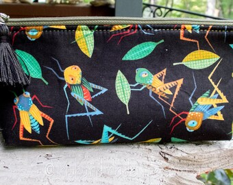 Grasshopper Pencil Pouch | Cute Grasshopper Fabric | Lined Zipper Pencil Bag | Cute Pencil Holder | Small Gift Under 15 | Art Pencil Bag