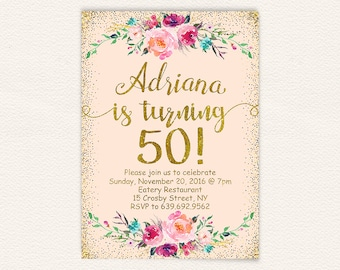 Floral 50th birthday invitation mint and gold glitter womens floral 50th birthday invitation womens peach and gold glitter birthday party invitations printable digital file jpg 9a filmwisefo