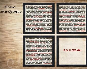 Movie Love Quotes Print Art, Typography Art, Movie Design Print
