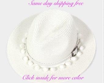 POM POM BELT Fedora Hat