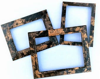 Black and Gold Table Top Picture Frames, 8x10 Photo Opening, 5x7 Photo Opening, Abstract Frame, Picture Frame, Metal Frame, Gift for Couple