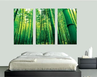 Bamboo Wall Mural Decal, Bamboo Wall Stickers, Bamboo Wall Art Designs, Removable Bamboo Wall Art Decals, Large Living Room Bamboo Art, c67