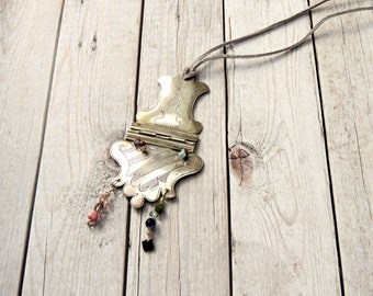 Silver necklace, buckle necklace, antique necklace, vintage necklace, vintage buckle, gift for her, mother's day gift