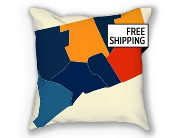Connecticut Map Pillow - CT Map Pillow 18x18