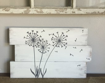 Dandelion  Pallet Sign, Inspirational sign, Rustic pallet sign, 16x10, pallet art, dandelion art, Christmas gift, customizable farmhouse