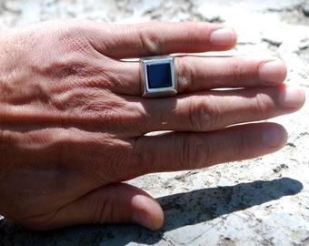 Black square Signet Ring-Black Square-Men's Black Onyx Ring-Black Onyx Ring-Onyx Ring-Onyx Signet Ring-Men's Black Onyx Ring-Signet Ring