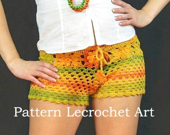 Crochet pattern womens shorts, pattern beach shorts - color of summer - pattern PDF