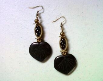 Black and Brass Leaf Earrings (1447)