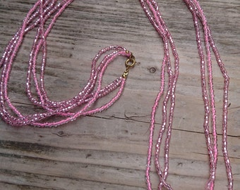 Vintage pink seed bead necklace