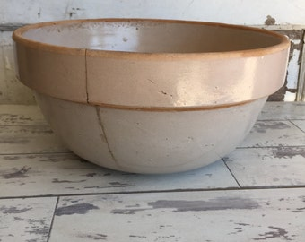 Vintage Crock Pottery Bowl -8 quart 12 Inch Mixing Bowl - Primitive Salt Glaze HUGE