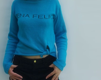 NEW Turquoise Knotted Front Long Back Slogan Sweater  Express shipping