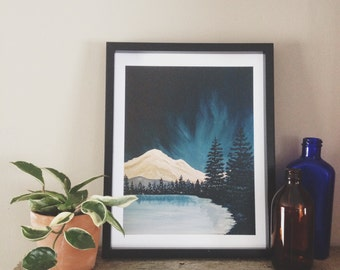 Night Sky Print, Mountain Print, Evergreen Print, Northern Lights, Mountain Painting, Nature Painting, Landscape Painting, Nature Print
