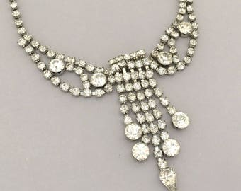 Vintage Jewelry Rhinestone Necklace, Bridal Necklace, Clear Rhinestone Statement Necklace, Wedding Jewelry Collar Necklace for Women